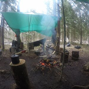 Handmade Camp. 10 days on the border of swamp and forest. Goose hunting.